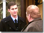 Pc Steve Crane (James Carlton)  and Vernon Scripps outside the Aidensfield Arms (2003)