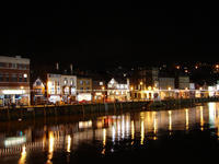 Whitby harbour at night